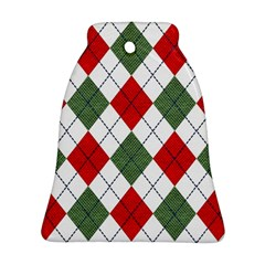 Red Green White Argyle Navy Bell Ornament (Two Sides)