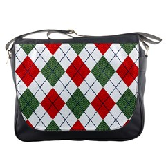 Red Green White Argyle Navy Messenger Bags