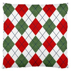 Red Green White Argyle Navy Large Cushion Case (two Sides)