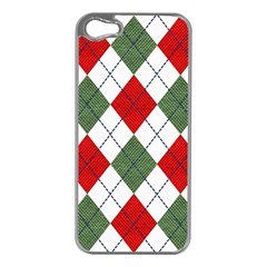 Red Green White Argyle Navy Apple iPhone 5 Case (Silver)