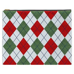 Red Green White Argyle Navy Cosmetic Bag (xxxl)