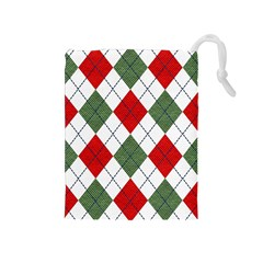Red Green White Argyle Navy Drawstring Pouches (medium)