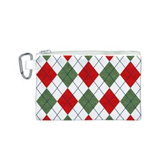Red Green White Argyle Navy Canvas Cosmetic Bag (S)