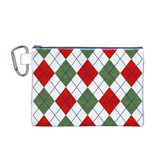 Red Green White Argyle Navy Canvas Cosmetic Bag (M)