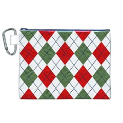 Red Green White Argyle Navy Canvas Cosmetic Bag (XL)