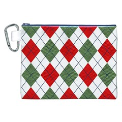 Red Green White Argyle Navy Canvas Cosmetic Bag (XXL)
