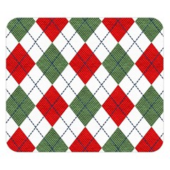 Red Green White Argyle Navy Double Sided Flano Blanket (small)