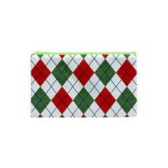 Red Green White Argyle Navy Cosmetic Bag (XS)
