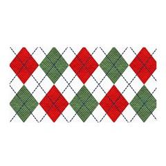 Red Green White Argyle Navy Satin Wrap