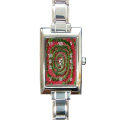 Red Green Swirl Twirl Colorful Rectangle Italian Charm Watch