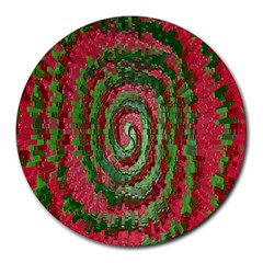 Red Green Swirl Twirl Colorful Round Mousepads
