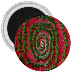 Red Green Swirl Twirl Colorful 3  Magnets