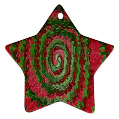 Red Green Swirl Twirl Colorful Ornament (star)