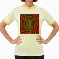Red Green Swirl Twirl Colorful Women s Fitted Ringer T Shirts