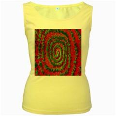 Red Green Swirl Twirl Colorful Women s Yellow Tank Top