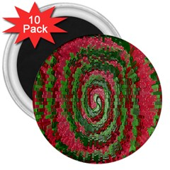 Red Green Swirl Twirl Colorful 3  Magnets (10 Pack)