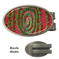 Red Green Swirl Twirl Colorful Money Clips (Oval)