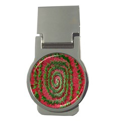 Red Green Swirl Twirl Colorful Money Clips (Round)