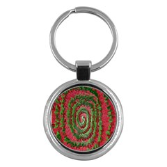Red Green Swirl Twirl Colorful Key Chains (Round)