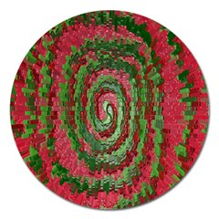 Red Green Swirl Twirl Colorful Magnet 5  (Round)