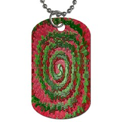 Red Green Swirl Twirl Colorful Dog Tag (One Side)