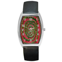 Red Green Swirl Twirl Colorful Barrel Style Metal Watch