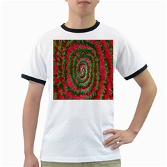 Red Green Swirl Twirl Colorful Ringer T-Shirts