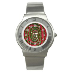 Red Green Swirl Twirl Colorful Stainless Steel Watch