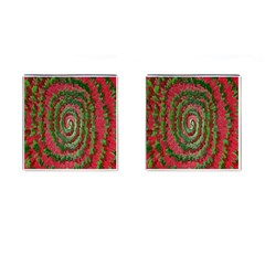 Red Green Swirl Twirl Colorful Cufflinks (Square)