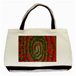 Red Green Swirl Twirl Colorful Basic Tote Bag Front