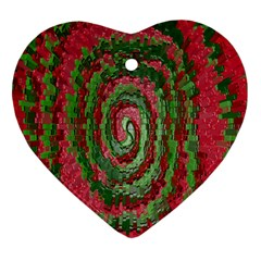 Red Green Swirl Twirl Colorful Heart Ornament (Two Sides)