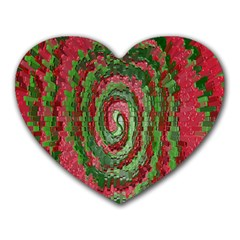 Red Green Swirl Twirl Colorful Heart Mousepads