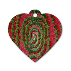 Red Green Swirl Twirl Colorful Dog Tag Heart (two Sides)