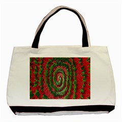 Red Green Swirl Twirl Colorful Basic Tote Bag (two Sides)