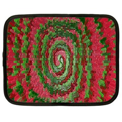 Red Green Swirl Twirl Colorful Netbook Case (Large)