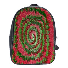Red Green Swirl Twirl Colorful School Bags(large)