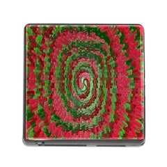 Red Green Swirl Twirl Colorful Memory Card Reader (square)