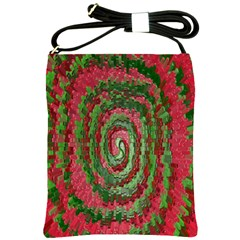 Red Green Swirl Twirl Colorful Shoulder Sling Bags