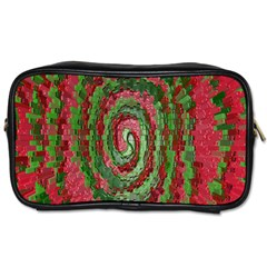 Red Green Swirl Twirl Colorful Toiletries Bags 2-Side