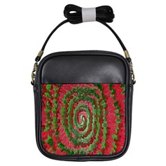 Red Green Swirl Twirl Colorful Girls Sling Bags