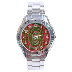 Red Green Swirl Twirl Colorful Stainless Steel Analogue Watch