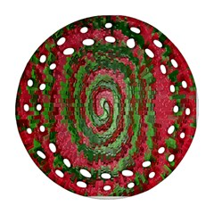 Red Green Swirl Twirl Colorful Round Filigree Ornament (two Sides)