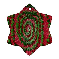 Red Green Swirl Twirl Colorful Snowflake Ornament (Two Sides)