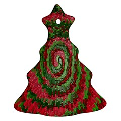 Red Green Swirl Twirl Colorful Christmas Tree Ornament (Two Sides)