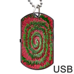 Red Green Swirl Twirl Colorful Dog Tag Usb Flash (two Sides)