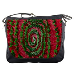 Red Green Swirl Twirl Colorful Messenger Bags
