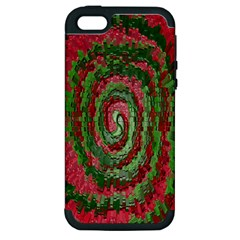 Red Green Swirl Twirl Colorful Apple Iphone 5 Hardshell Case (pc+silicone)
