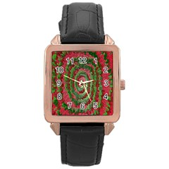 Red Green Swirl Twirl Colorful Rose Gold Leather Watch