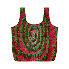 Red Green Swirl Twirl Colorful Full Print Recycle Bags (M)