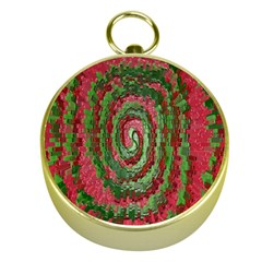 Red Green Swirl Twirl Colorful Gold Compasses